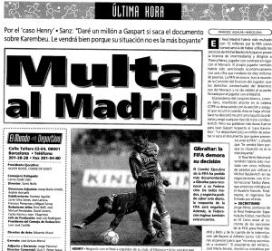 Thierry Henry y el Real Madrid multados por la FIFA (1996)