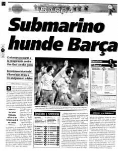 El Villarreal derrotó al Barcelona en el Camp Nou 1-3 el 13 de diciembre de 1998 provocando una gran pañolada en el Camp Nou.