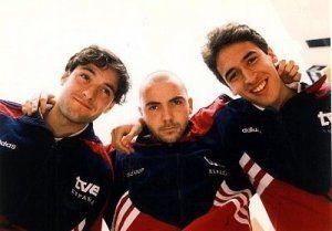 España Sub 21 1996 (Santi, De la Peña y Raúl).