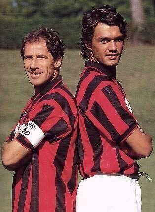 Franco Baresi y Paolo Maldini, baluartes defensivos del Milan de Sacchi