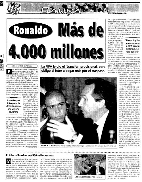 FIFA da la razón al Barcelona y el Inter pagará más de 4000 millones por Ronaldo