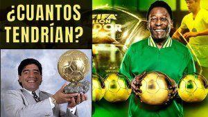 Balones de Oro Pele y Maradona